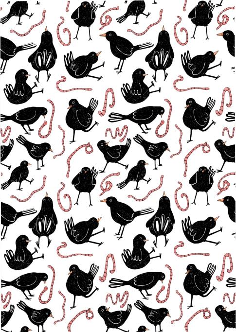 A5 x4 black bird